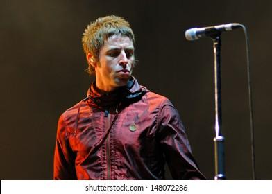 BENICASIM, SPAIN - JULY 19: Liam Gallagher, frontman of Beady Eye band, concert performance at FIB (Festival Internacional de Benicassim) 2013 Festival on July 19, 2013 in Benicasim, Spain.