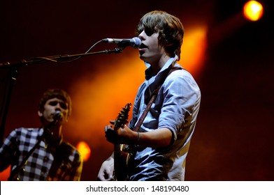 BENICASIM, SPAIN - JULY 21: Jake Bugg, known as the new Bob Dylan, band concert performance at FIB (Festival Internacional de Benicassim) 2013 Festival on July  21, 2013 in Benicasim, Spain.