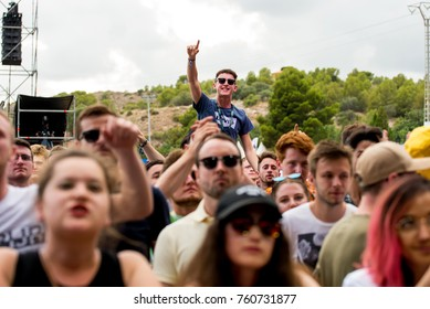 BENICASSIM, SPAIN - JUL 13: Crowd in a concert at FIB Festival on July 13, 2017 in Benicassim, Spain.