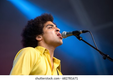 BENICASSIM, SPAIN - JUL 14: Childhood (music band) perform in concert at FIB Festival on July 14, 2017 in Benicassim, Spain.