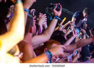 BENICASSIM, SPAIN - JUL 14: Foals (rock music band) perform in concert at FIB Festival on July 14, 2017 in Benicassim, Spain.