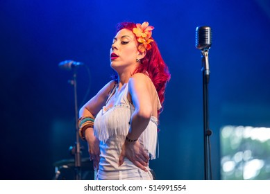 BENICASSIM, SPAIN - JUL 14: Ruth Baker Band perform in concert at FIB Festival on July 14, 2016 in Benicassim, Spain.
