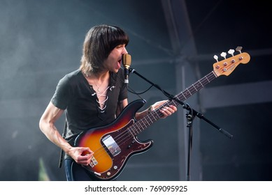 BENICASSIM, SPAIN - JUL 14: Temples (psychedelic pop music band) perform in concert at FIB Festival on July 14, 2017 in Benicassim, Spain.