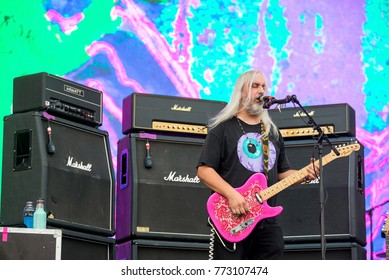 BENICASSIM, SPAIN - JUL 15: Dinosaur Jr. (noise rock music band) perform in concert at FIB Festival on July 15, 2017 in Benicassim, Spain.