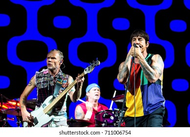 BENICASSIM, SPAIN - JUL 15: Red Hot Chili Peppers (music band) performs in concert at FIB Festival on July 15, 2017 in Benicassim, Spain.
