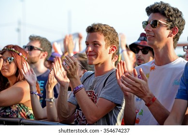 BENICASSIM, SPAIN - JUL 16: Crowd in a concert at FIB Festival on July 16, 2015 in Benicassim, Spain.