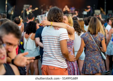 BENICASSIM, SPAIN - JUL 16: Crowd in a concert at FIB Festival on July 16, 2016 in Benicassim, Spain.