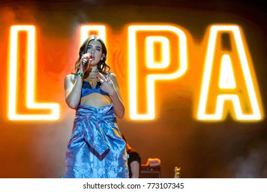 BENICASSIM, SPAIN - JUL 16: Dua Lipa (pop music band) perform in concert at FIB Festival on July 16, 2017 in Benicassim, Spain.