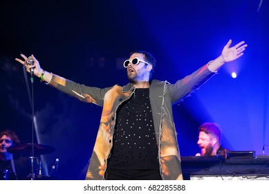 BENICASSIM, SPAIN - JUL 16: Kasabian (rock music band) perform in concert at FIB Festival on July 16, 2017 in Benicassim, Spain.