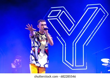 BENICASSIM, SPAIN - JUL 16: Years and Years (indie alternative music band) perform in concert at FIB Festival on July 16, 2017 in Benicassim, Spain.