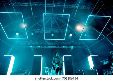 BENICASSIM, SPAIN - JUL 17: The 1975 (youth pop band) perform in concert at FIB Festival on July 17, 2016 in Benicassim, Spain.