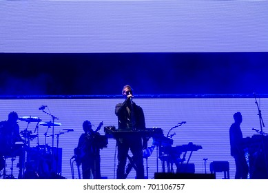BENICASSIM, SPAIN - JUL 17: Massive Attack (trip hop and electronic band) perform in concert at FIB Festival on July 17, 2016 in Benicassim, Spain.