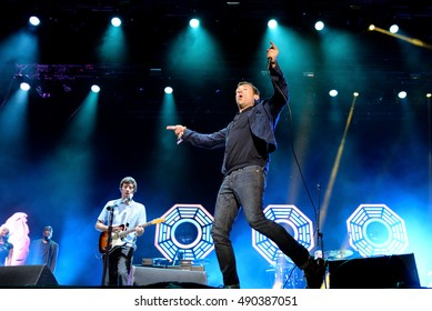BENICASSIM, SPAIN - JUL 18: Blur (band) in concert at FIB Festival on July 18, 2015 in Benicassim, Spain.