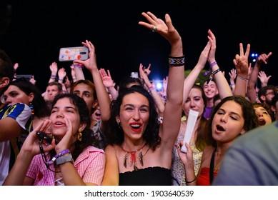 BENICASSIM, SPAIN - JUL 18: The crowd in a concert at FIB (Festival Internacional de Benicassim) Festival on July 18, 2019 in Benicassim, Spain.