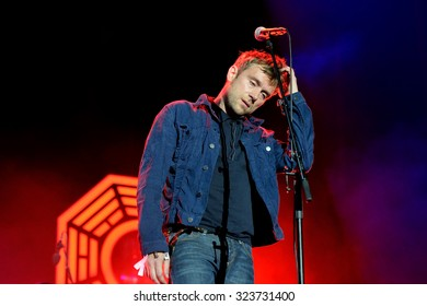 BENICASSIM, SPAIN - JUL 18: Damon Albarn, frontman of Blur (band), performs at FIB Festival on July 18, 2015 in Benicassim, Spain.