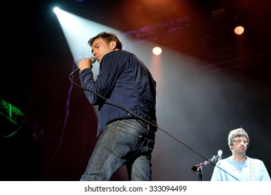 BENICASSIM, SPAIN - JUL 18: Damon Albarn, singer of Blur and Gorillaz (bands) in concert at FIB Festival on July 18, 2015 in Benicassim, Spain.