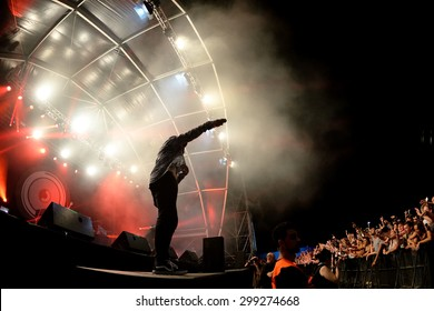 BENICASSIM, SPAIN - JUL 18: Mark Ronson (band) in concert at FIB Festival on July 18, 2015 in Benicassim, Spain.