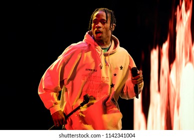 BENICASSIM, SPAIN - JUL 19: Travis Scott (rapper) performs in concert at FIB Festival on July 19, 2018 in Benicassim, Spain.