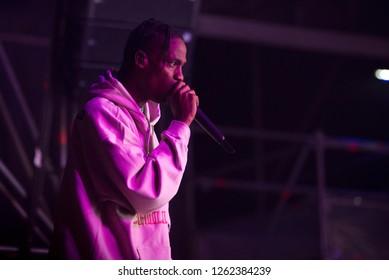 BENICASSIM, SPAIN - JUL 19: Travis Scott (rapper) performs in concert at FIB Festival on July 19, 2018 in Benicassim, Spain.