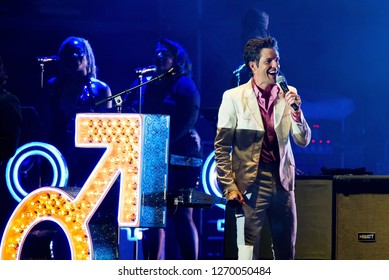 BENICASSIM, SPAIN - JUL 20: Brandon Flowers, frontman of The Killers (famous indie rock band), performs in concert at FIB Festival on July 20, 2018 in Benicassim, Spain.