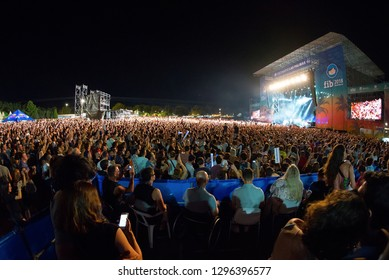 BENICASSIM, SPAIN - JUL 20: The crowd in a concert at FIB Festival on July 20, 2018 in Benicassim, Spain.