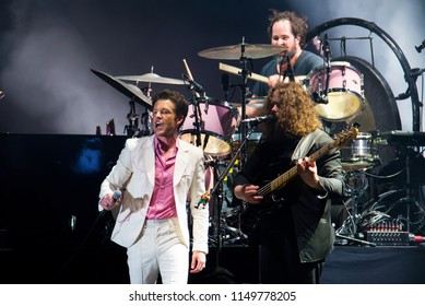 BENICASSIM, SPAIN - JUL 20: The Killers (famous indie rock band) perform in concert at FIB Festival on July 20, 2018 in Benicassim, Spain.