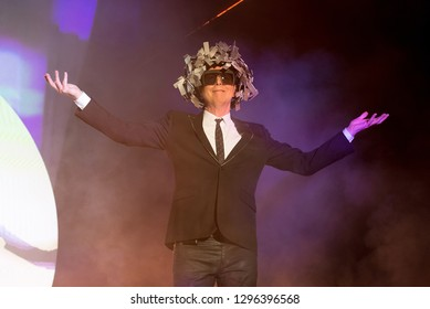 BENICASSIM, SPAIN - JUL 21: Pet Shop Boys (synthpop legendary band) perform in concert at FIB Festival on July 21, 2018 in Benicassim, Spain.
