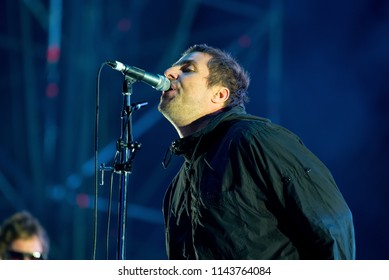 BENICASSIM, SPAIN - JUL 22: Liam Gallagher performs in concert at FIB Festival on July 22, 2018 in Benicassim, Spain.