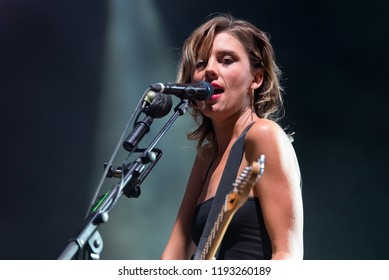 BENICASSIM, SPAIN - JUL 22: Wolf Alice (indie rock band) perform in concert at FIB Festival on July 22, 2018 in Benicassim, Spain.