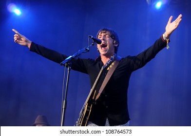 BENICASSIM, SPAIN - JULY 13: Miles Kane performs at FIB on July 13, 2012 in Benicassim, Spain. Festival Internacional de Benicassim.
