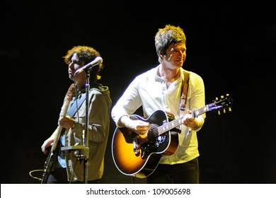 BENICASSIM, SPAIN - JULY 14: Noel Gallagher's High Flying Birds band performs at FIB on July 14, 2012 in Benicassim, Spain. Festival Internacional de Benicassim.