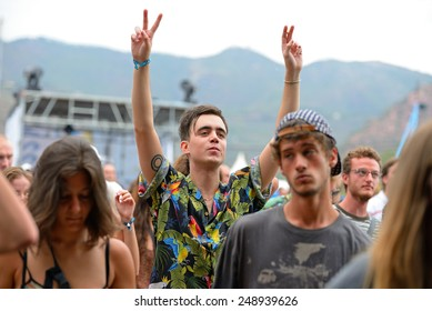 BENICASSIM, SPAIN - JULY 18: Crowd in a concert at FIB Festival on July 18, 2014 in Benicassim, Spain.