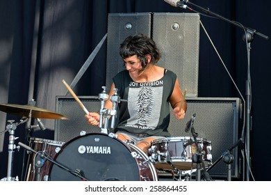 BENICASSIM, SPAIN - JULY 18: Drummer of El Pardo (band) performs at FIB Festival on July 18, 2014 in Benicassim, Spain.