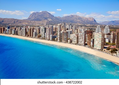 Benidorm aerial Levante beach in Alicante Mediterranean of Spain