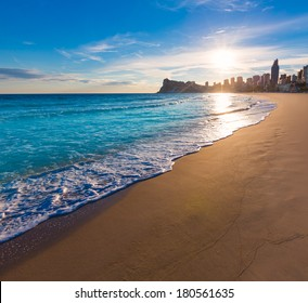 Benidorm Alicante playa de Poniente beach sunset in spain Valencian community