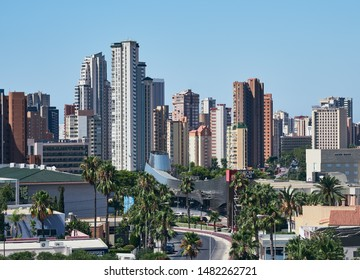 Benidorm, Alicante, Spain, 2 August 2019. Aerial view of part of Benidorm's skyscrapers and streets, in the Deloix area