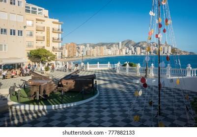 BENIDORM, ALICANTE, SPAIN, JANUARY 11 2017 - Santa Ana Plaza and view of Levante beach coastline at Christmas, Benidorm, Alicante, Spain