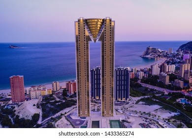 Benidorm, Alicante / Spain - May 14th 2019: Aerial view of Intempo - an iconic diamond shaped building in the City of Benidorm during dusk.