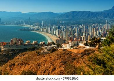 Benidorm cityscape. Benidorm is a coastal city in Alicante, Costa Blanca. Spain