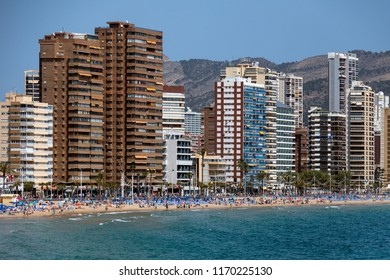 Benidorm. Spain.  04.17.17. Benidorm, a city and tourist resort on the Mediterranean coast in the province of Alicante on the Costa Blanca in eastern Spain.