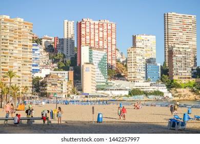 Benidorm, Spain, 15 June, 2019: View of Benidorm beach full of people in Benidorm, Spain