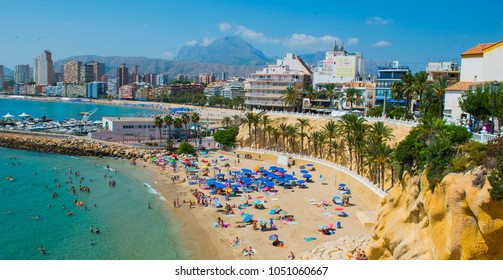 Benidorm, Spain - 17 AUG 2017: Panoramic view over crowded beach of Benidorm, Spain