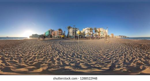 Benidorm Spain 19th Jan 2019: 360 degree sphere panoramic photo taken in Benidorm Alicante in Spain Beautiful Playa Levante Beach
