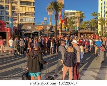 Benidorm Spain 1st Feb 2019: Benidorm street showing people enjoying a drink on a bright sunny day.