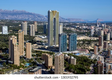 Benidorm Spain 1st Feb 2019: Aerial photo of the famous INTEMPO building in Benidorm Spain in Costa Blanca, showing the main building and and also sorounding hotels and high rise buildings.