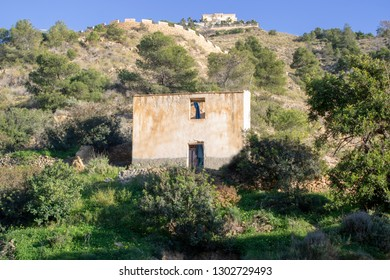 Benidorm Spain 1st Feb 2019: Old derelict house on the landscape of Benidorm Alicante in Spain