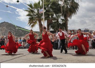 "Benidorm, Spain, 23/04/2016 : Spanish flamenco dance on the street in the ""Labor Day"""
