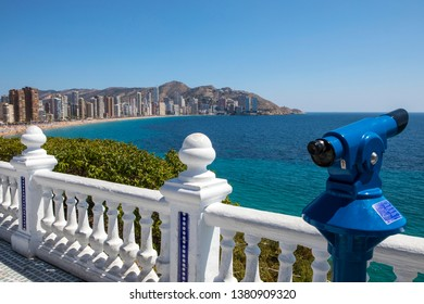 Benidorm, Spain - April 13th 2019: The view from Placa del Castell overlooking Levante Beach in Benidorm, Spain.