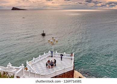 Benidorm, Spain. Circa February 2017. Tourists visit the balcony of the Mediterranean with Benidorm island in the distance.