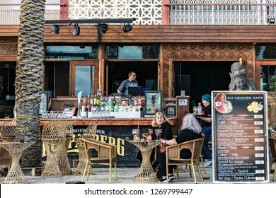 Benidorm, Spain. Circa February 2017. Traditional sidewalk cafe and bar on the popular promenade of Benidorm, on the Mediterranean sea.
